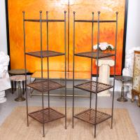 Pair of Tall French Wrought Iron Etagere Whatnot Shelving Stands (10 of 10)