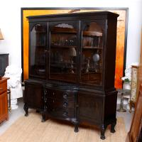 Austrian Ebonised Oak Glazed Dresser Bookcase Display Cabinet (9 of 12)