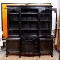 Austrian Ebonised Oak Glazed Dresser Bookcase Display Cabinet (8 of 12)