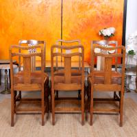 Oak Dining Table & 6 Chairs c.1920 (4 of 19)