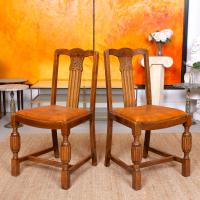 Oak Dining Table & 6 Chairs c.1920 (7 of 19)