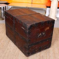 Oak Iron Bound Silver Chest Trunk 19th Century (9 of 10)