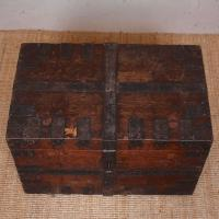 Oak Iron Bound Silver Chest Trunk 19th Century (3 of 10)
