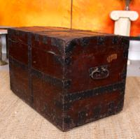 Oak Iron Bound Silver Chest Trunk 19th Century (10 of 10)