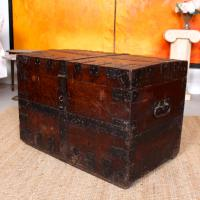 Oak Iron Bound Silver Chest Trunk 19th Century (7 of 10)