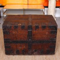 Oak Iron Bound Silver Chest Trunk 19th Century (2 of 10)
