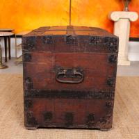 Oak Iron Bound Silver Chest Trunk 19th Century (8 of 10)
