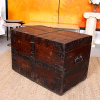 Oak Iron Bound Silver Chest Trunk 19th Century (6 of 10)