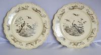 Superb Pair of 18th Century Wedgwood Printed Creamware Dessert Plates