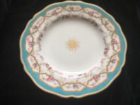 Antique Hand Painted Gold Bone Cabinet Plate Floral Medallions Copeland c.1900