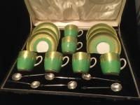 Cauldon China Green & Gold Art Deco Coffee Cups & Saucers c.1930