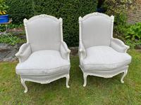 Pair of Large Upholstered French Armchairs (6 of 9)