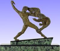 Art Deco Bronze Hunter & Eagle by Michel Decoux