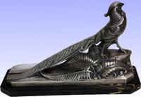 Early 20th Century Silvered Pheasant Sculpture Signed Frecourt