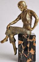 Art Deco Gilt Bronze Fashion Girl Signed Jorel