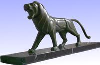Art Deco Bronze Lion by Jeanne Hugues