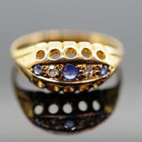 18ct Yellow Gold Sapphire & Diamond Five Stone Ring