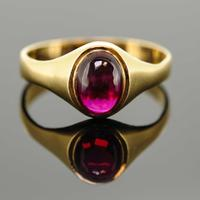 18ct Yellow Gold Synthetic Ruby Signet Ring