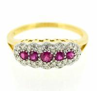 18ct Yellow Gold Edwardian Style Ruby & Diamond Ring
