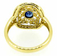18ct Yellow Gold Antique Style Sapphire & Diamond Cluster Ring (5 of 8)