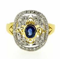 18ct Yellow Gold Antique Style Sapphire & Diamond Cluster Ring