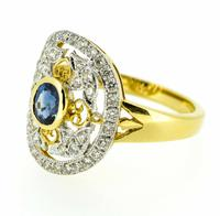18ct Yellow Gold Antique Style Sapphire & Diamond Cluster Ring (8 of 8)