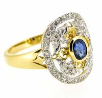 18ct Yellow Gold Antique Style Sapphire & Diamond Cluster Ring (7 of 8)