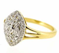 18ct Yellow Gold Antique Style Diamond Cluster Ring (6 of 6)