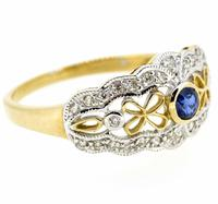 9ct Yellow Gold Antique Style Sapphire & Diamond Ring (8 of 8)