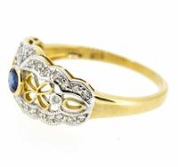 9ct Yellow Gold Antique Style Sapphire & Diamond Ring (7 of 8)
