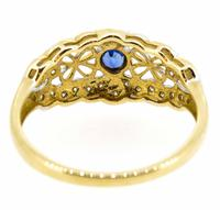 9ct Yellow Gold Antique Style Sapphire & Diamond Ring (5 of 8)