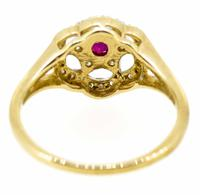 9ct Yellow Gold Antique Style Ruby & Diamond Cluster Ring (4 of 8)