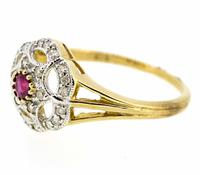 9ct Yellow Gold Antique Style Ruby & Diamond Cluster Ring (7 of 8)
