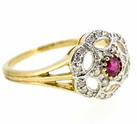9ct Yellow Gold Antique Style Ruby & Diamond Cluster Ring (8 of 8)
