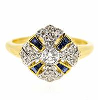 18ct Yellow Gold Antique Style Sapphire and Diamond Fancy Cluster Ring