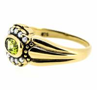 9ct Yellow Gold Antique Style Peridot and Seed Pearl Dress Ring (7 of 8)