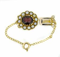 Mid 20th Century 9ct Yellow Gold Pearl & Garnet Cluster Clasp