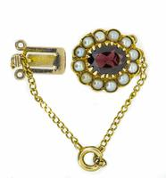 Mid 20th Century 9ct Yellow Gold Pearl & Garnet Cluster Clasp (2 of 4)
