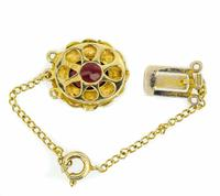 Mid 20th Century 9ct Yellow Gold Pearl & Garnet Cluster Clasp (3 of 4)