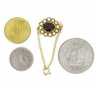 Mid 20th Century 9ct Yellow Gold Pearl & Garnet Cluster Clasp (4 of 4)