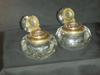 Heavy Faceted Glass Inkwells