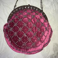 Antique Cut Steel Beadwork & Velvet Purse - Regency Period