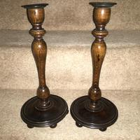 Good Quality Pair of Wooden Candlesticks c.1920