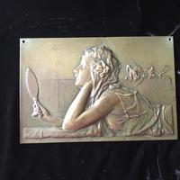 Art Nouveau Bronze Plaque c.1890