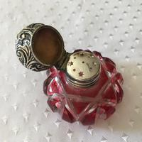 Vinaigrette - Victorian Cranberry Glass & Silver c.1870 (3 of 3)