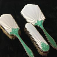 Art Deco Silver &  Enamel Mirror & Brush Set - London1936 (2 of 7)