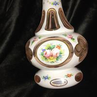 Bohemian Overlay & Painted Vase c.1920 (2 of 8)
