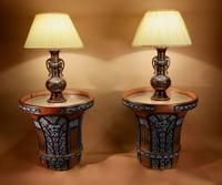 "Pair of Very Rare & Impressive Decorative Art Deco Large Pottery ""Gres"" Jardinières Eliminated, Side Tables"