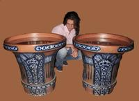 """Pair of Very Rare & Impressive Decorative Art Deco Large Pottery """"Gres"""" Jardinières Eliminated, Side Tables (5 of 11)"""
