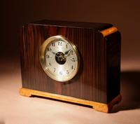 Very Stylish Art Deco Bulle Electrical Macassar Ebony & Lemon Wood Mantel Clock